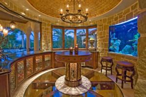 An in-built wall aquarium in a sitting room