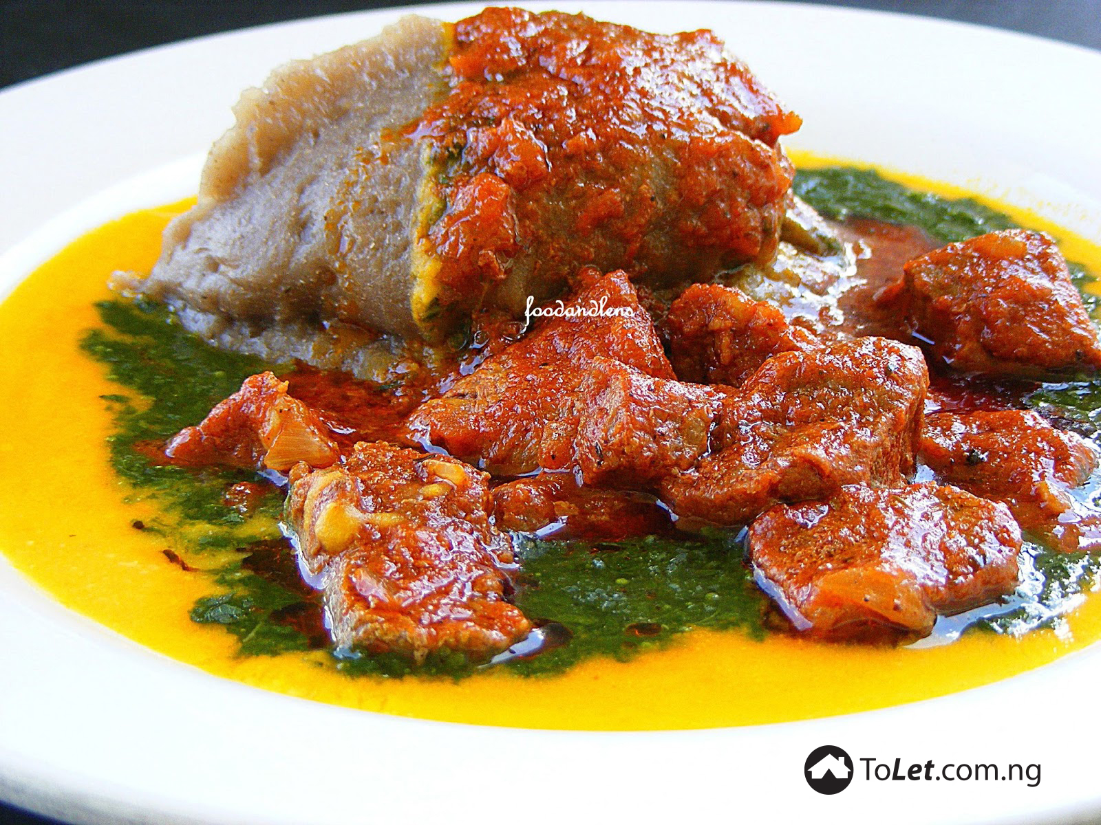 A plate of delicious amala with gbegiri plus ewedu and assorted meat
