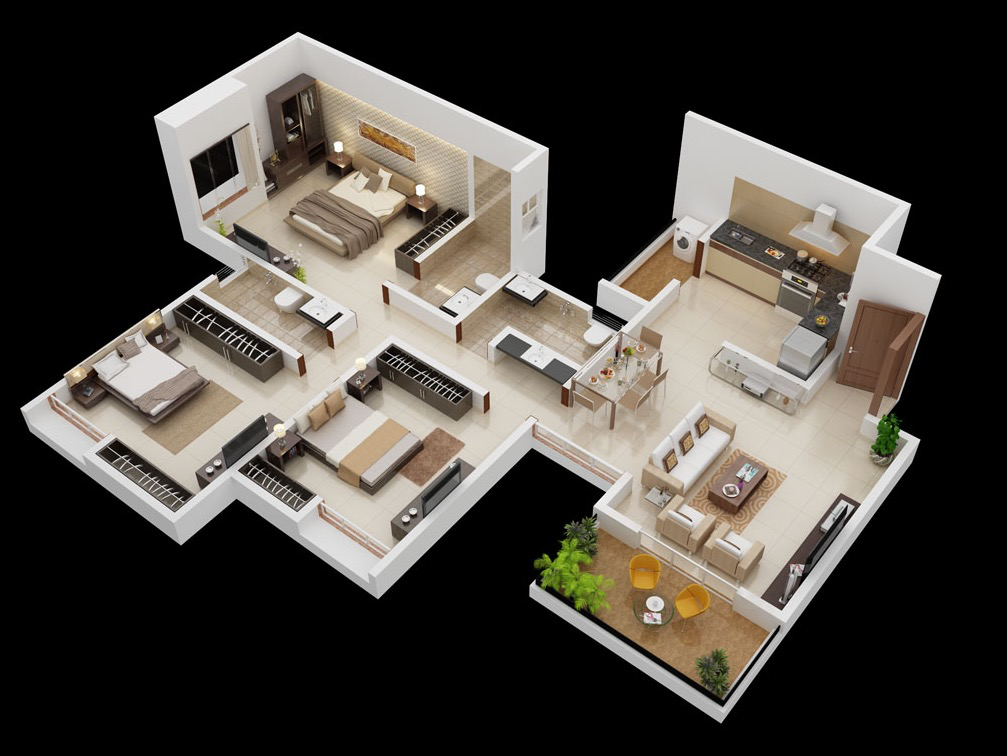 Great 3 Bedroom Design With Closet Spcae