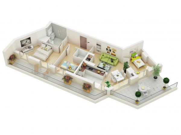 Balcony design for 3-bedroom flat