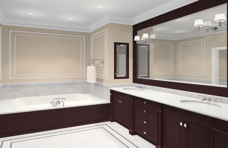 How To Design Your Bathroom On A Budget, Dark Brown Wood Bathroom Mirror